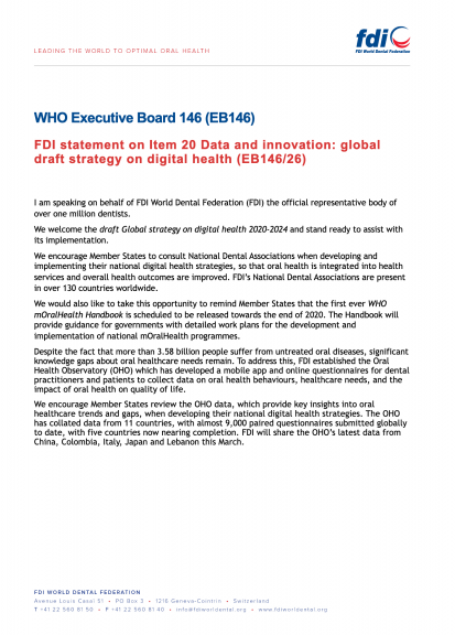 WHO EB146 - FDI statement on Item 20