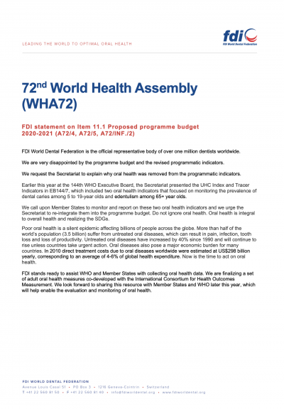 WHA72 - Proposed programme budget 2020-2021