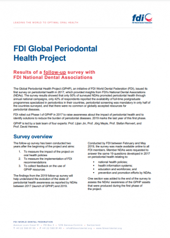 Global Periodontal Health Project 2019 NDA_survey